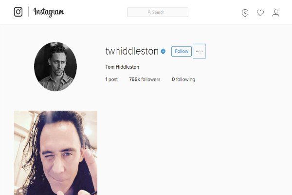 Akun instagram Tom Hiddleston
